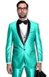 Turquoise Tuxedo Shawl Collar Vested Jacket