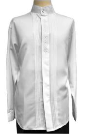 Gray Pleated Front Tuxedo Look Shirt for Men