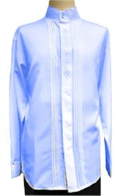 Banded Collar Light Royal Blue Long Sleeve Shirt