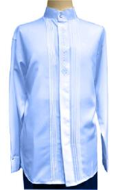 Blue Mandarin Style Long Sleeve Shirt for Mens