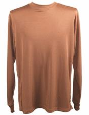 Brown Pronti Shiny Long Sleeve Mock