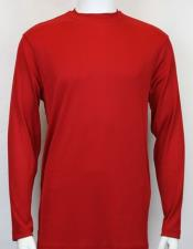 Mens Red Pronti Shiny Long Sleeve