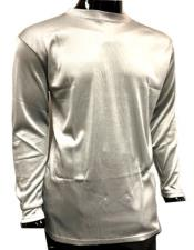 Mens Silver Pronti Shiny Long Sleeve