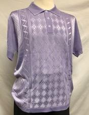Lilac Italian Knit Shiny Polo Shirts