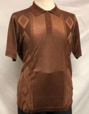 MensBrownShinyPoloShirts