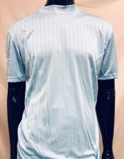 Mens Light Blue Rayon Material Stripe