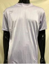 Mens Lilac Stripe Short Sleeve Mock