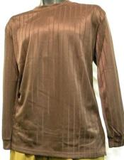 Mens Brown Rayon Knit Mock Neck