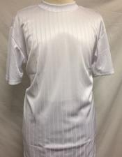 Mens White Silky Rayon Short Sleeve