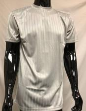 Mens Silver Silky Mock Neck Shirt