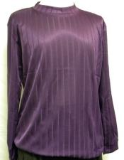 Mens Purple  Stripe Short Sleeve