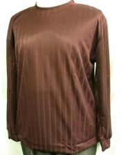Mens Burgundy Stripe Poly Mock Neck
