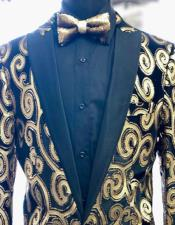 Gold ~ Black Peak Lapel Tuxedo Blazer