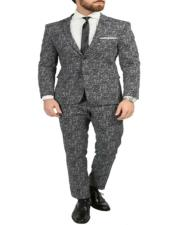 Chicago Skinny Slim Fit Black/White 2pc Spotted Notch Lapel