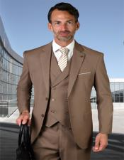 BrownSingleBreastedWoolFabric2ButtonVestedSuit