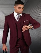 Burgundy Two Button Wool Fabric 2