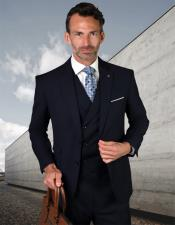 Lazio Style Wool Fabric Vested Single Breasted Suit