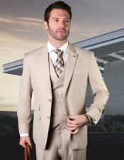 Tan Wool Fabric 2 Button Vested