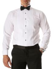 Max White Regular Fit Wing Tip Collar Pleated Tuxedo
