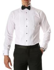 Paris White Slim Fit Lay Down Collar Pleated Tuxedo
