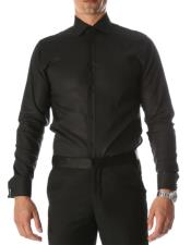 Black Venice Slim Fit Pique Lay Down Collar Shirt