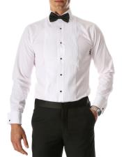 Paris White Regular Fit Lay Down Collar Pleated Tuxedo