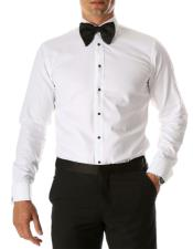 White Venice Slim Fit Pique Lay Down Collar Shirt