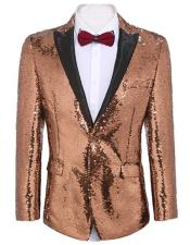 Gold ~ Pink Tuxedo Gold Sequin Prom ~ Wedding