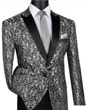 Silver & Black Shawl Lapel Fully Lining Blazer