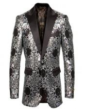 & Black Fancy Pattern Pindot Lapel Blazer