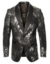 & Black Shawl Lapel One Chest Pocket Blazer for