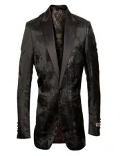 Tuxedo Jacket with Tone on Tone Floral Pattern -
