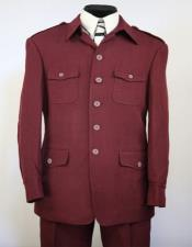 Collar Suits With Safari Pocket Pleated Pants Wine