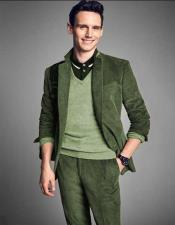 Green ~ Sage Green Velvet Suit Jacket + Pants