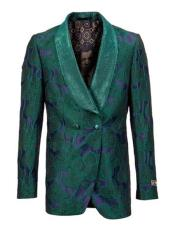 Green Blue Double Breasted Blazer Floral