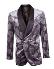 Double Breasted Tuxedo Mens Gray Shawl