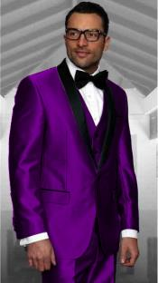 Purple Tuxedo Shawl Collar Vested Jacket & Vest &