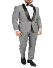 Gray 65% Polyester 35% Rayon Single-Button Shawl Lapel Suit