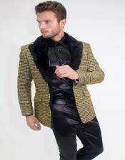 Gold Wool texture Three Quarter Peacoat