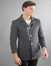 Grey Long-sleeved Three Quarter Peacoat