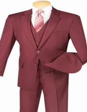 Burgundy Maroon 3 Piece Suit for
