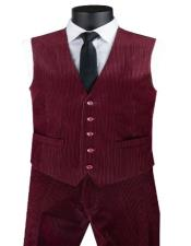 Pants + Matching Vest Package Set + Burgundy