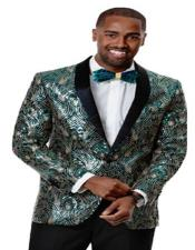 Mens Green Woven Silky Fabric Prom