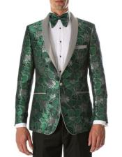 Mens Green Single Breasted Shawl Lapel
