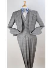 Plaid - Checkered Suit Grey Windowpane Vested Pleated Pants