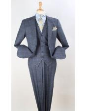 Grey Plaid 100% Wool Vested Pleated Pants Classic Fit
