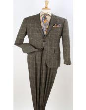 Windowpane  Plaid 100% Wool Fabric 1940s Mens Suits