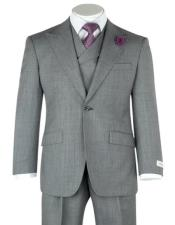 Lapel Double breasted Vest Classic Fit 3 Piece Gray