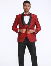 Red and Black Shwal Lapel Floral Pattern Prom Suits