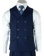 Mens French Blue 100% Wool Double